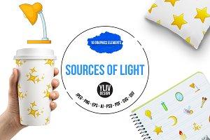 Sources of light icons set, cartoon