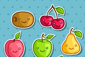 Set of cute kawaii smiling fruits.