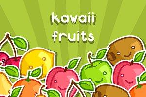 Background with kawaii fruits.