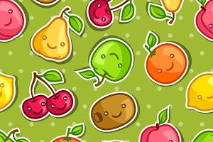 Seamless pattern with kawaii fruits.
