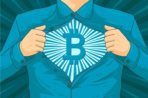 Male blockchain superhero vector