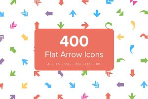 400 Flat Arrows Vector Icons