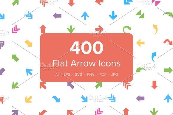 400 Flat Arrows Vector Icons