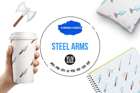 Steel Arms Icons Set Cartoon Style