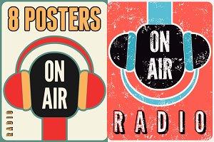 Radio on air typographic poster.