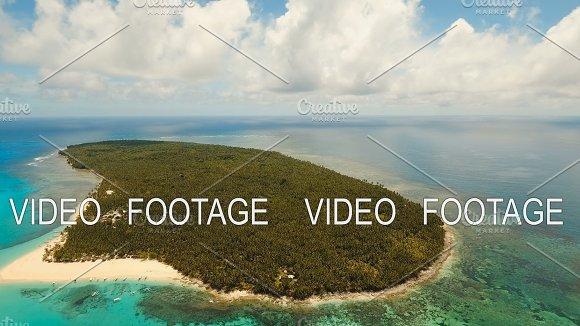 Aerial View Beautiful Beach On Tropical Island Daco Island Philippines Siargao