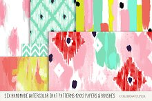 Watercolor Ikat Papers & Brushes