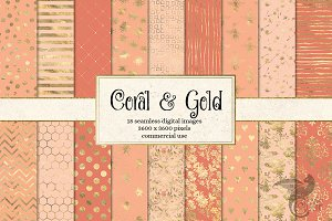 Coral and Gold Patterns
