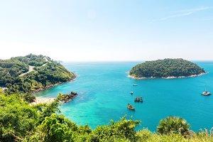 View on Yanui beach from mountains at Rawai area on Phuket islan