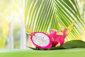 Fresh, tasty tropic, exotic dragon pitahya dragon fruit near pal