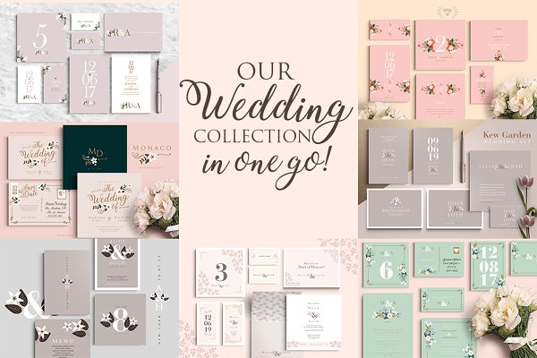 Invitation Templates: Werlang Paper - Wedding Collection: 7 sets-49 files