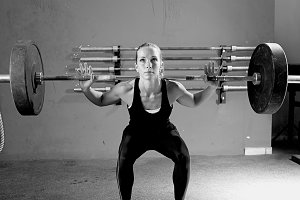 woman on a weightlifting session
