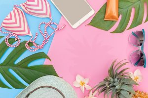 Tropical top view summer holiday concept still life background flat lay