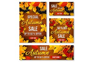 Autumn sale online discount vector poster, banner