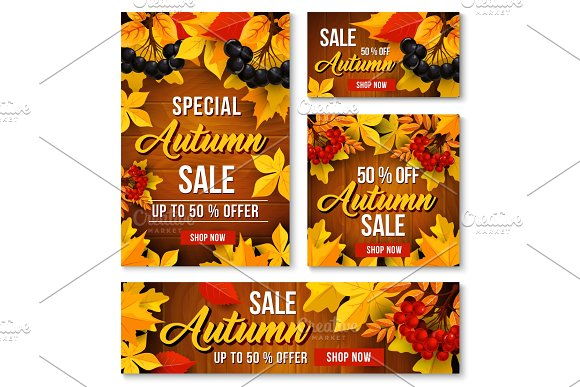Autumn Sale Online Discount Vector Poster Banner