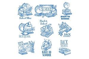 Back to School vector ink pen sketch icons