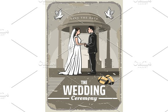Wedding Invitation Retro Card With Bride And Groom