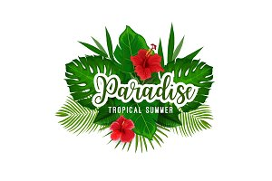 Tropical palm and flower poster for summer holiday