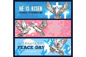 Dove bird banner for wedding and religion design