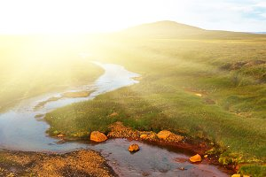 Summer Iceland Landscape with River
