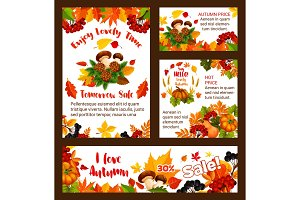 Autumn sale vector web banners and posters