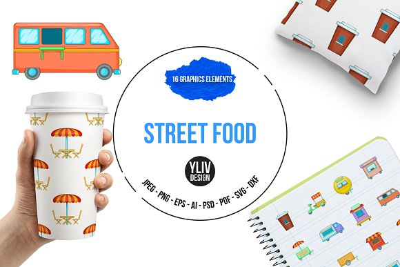 Street Food Kiosk Vehicle Icons Set
