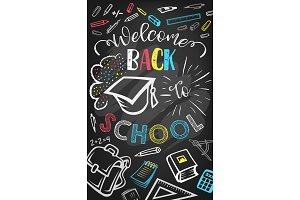 Welcome back to school greeting poster design