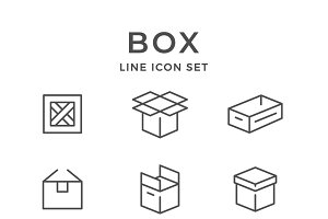 Set line icons of box