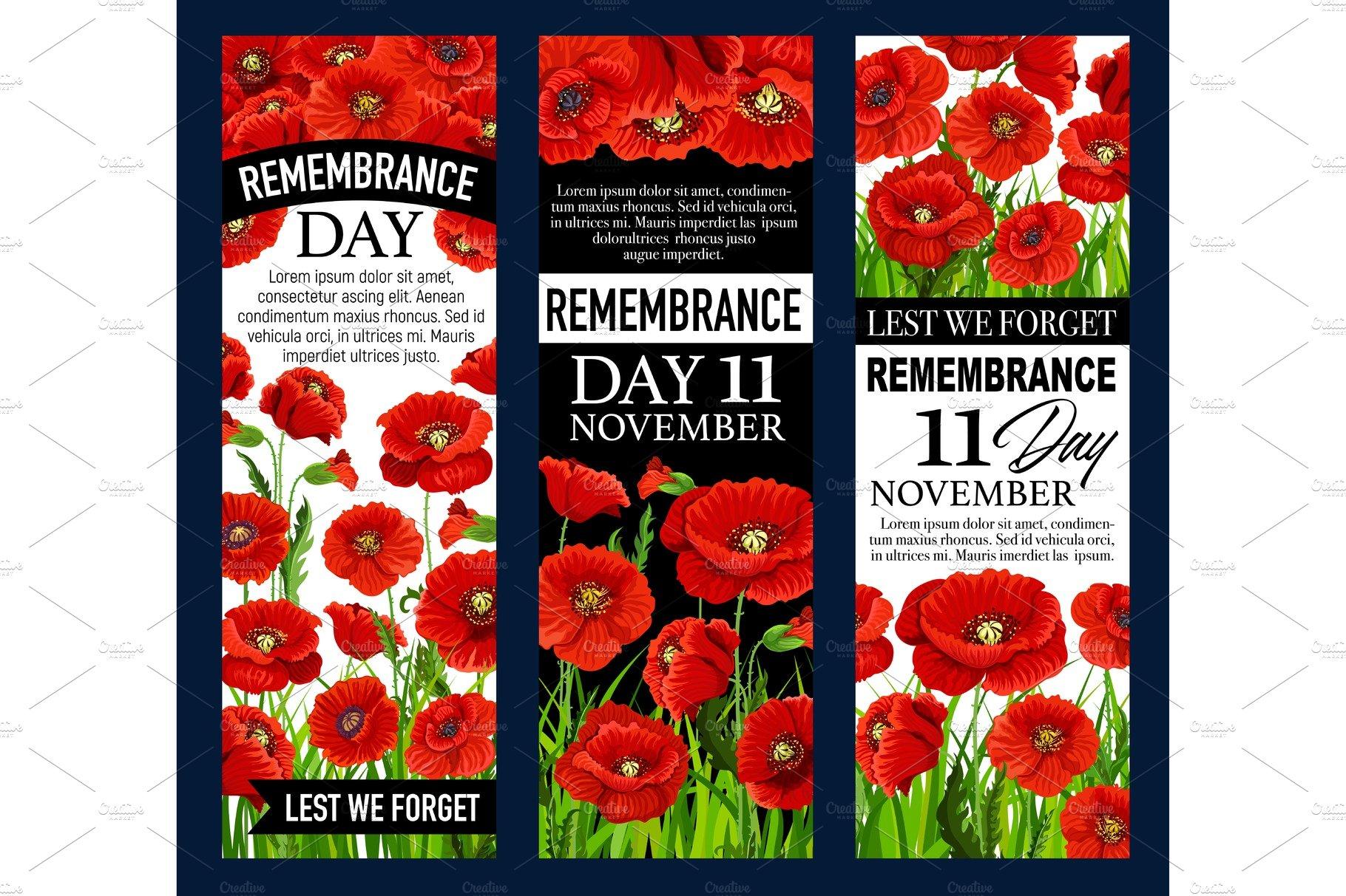 Poppy Flower Banner For Remembrance Day Design Illustrations