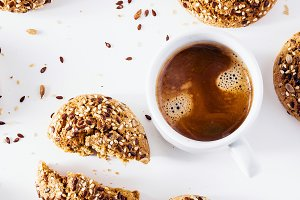 banner of a cup of espresso and fresh biscuits on a white backgr
