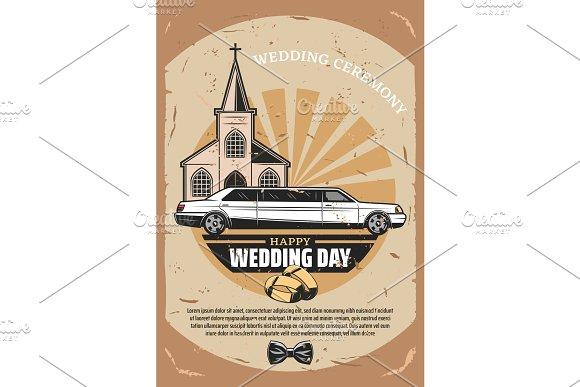 Happy Wedding Day Retro Greeting Card Design