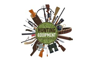 Hunting weapon and equipment poster design