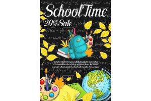 Back to School vector sale sketch chalkboard