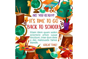Back to School vector education season poster