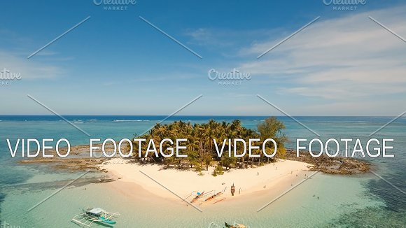 Aerial View Beautiful Beach On Tropical Island Guyam Island Philippines Siargao
