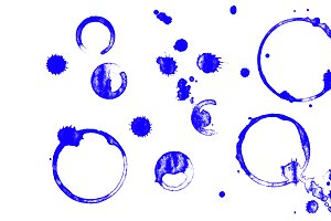 PNG Blue ink stains, dots, blots