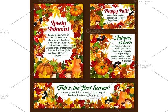 Autumn Acorn Leaf Pumpkin Vector Greeting Posters