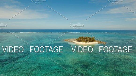 Aerial View Beautiful Beach On Tropical Island Guyam Island Philippines Siargao