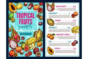 Tropical fruits vector template