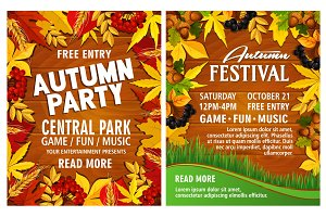 Autumn harvest festival poster on wood backgorund