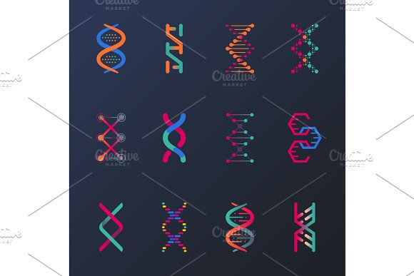 Set Of Isolated Dna Helix Or Spirals Cell