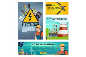 Electrician engeneering vector poster