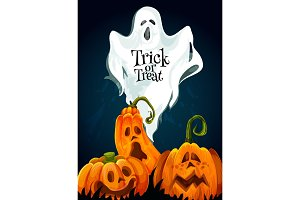 Halloween trick or treat vector greeting card