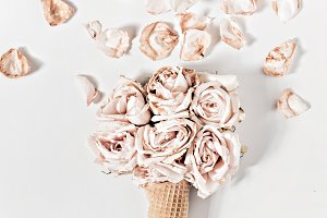 Dried Roses, Pedals & Ice Cream Cone