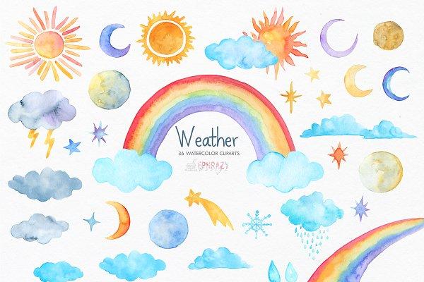 Weather Clipart Rainbow Clipart Pre Designed Photoshop Graphics Creative Market
