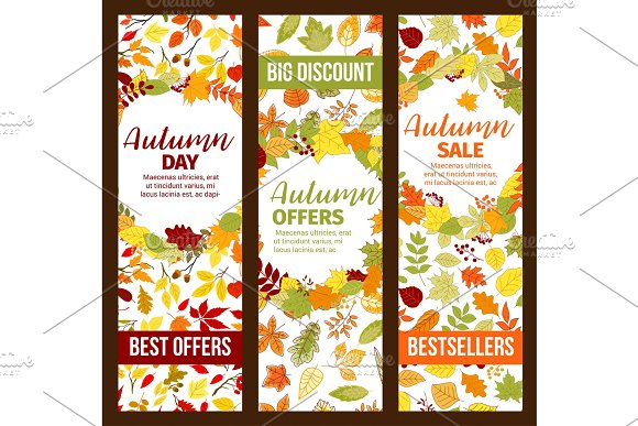 Autumn Sale Discount Promo Fall Seasonal Banners
