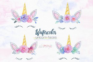 Unicorn face clipart. Watercolor