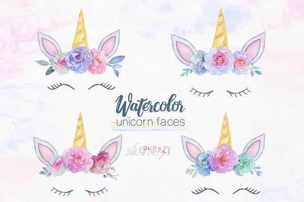 Unicorn face clipart. Watercolor