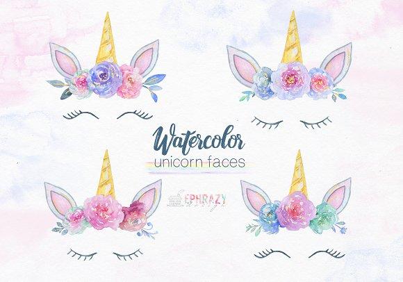Unicorn Face Clipart Watercolor
