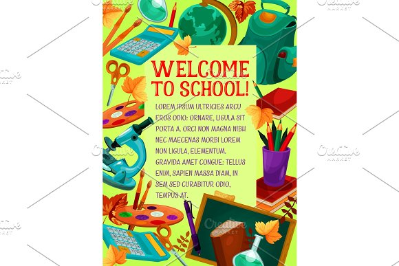 Welcome To School Banner For Greeting Card Design